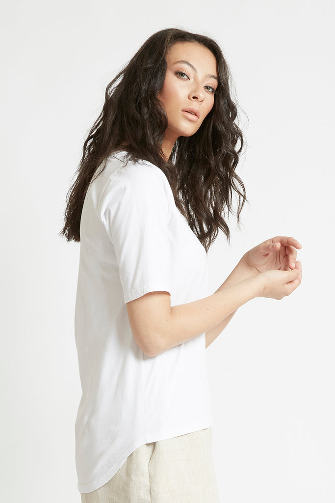 White Organic Cotton Scoop Neck T-Shirt Shirts + tops Ethical Sustainable Vegan Organic Australian fashion womens clothes