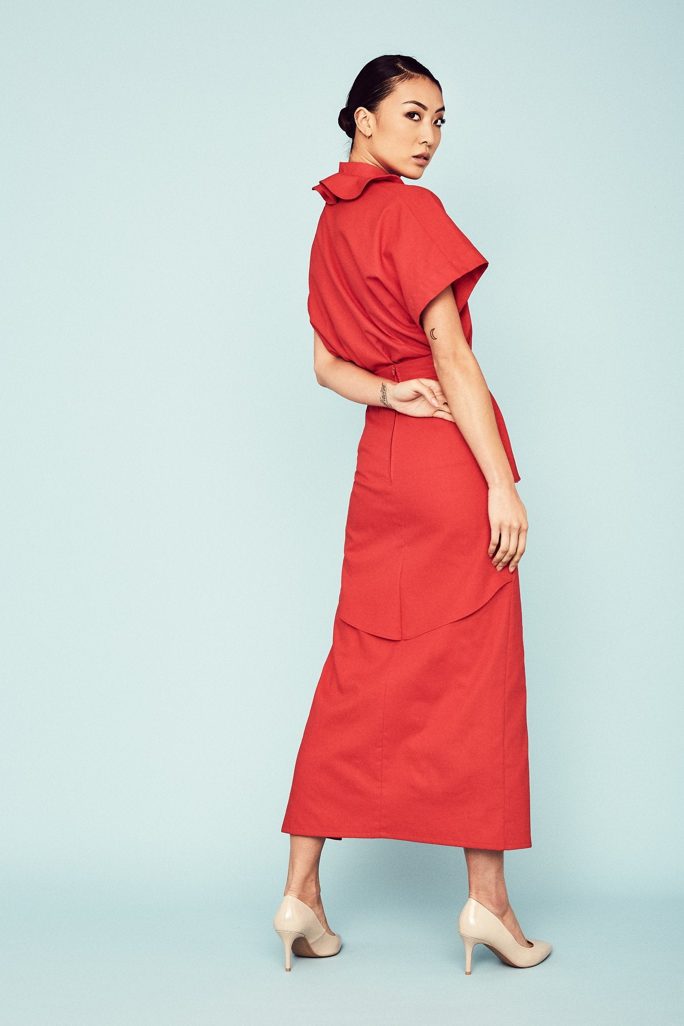 Red Divina Skirt Skirts The Fashion Advocate ethical Australian fashion designer boutique Melbourne sustainable clothes