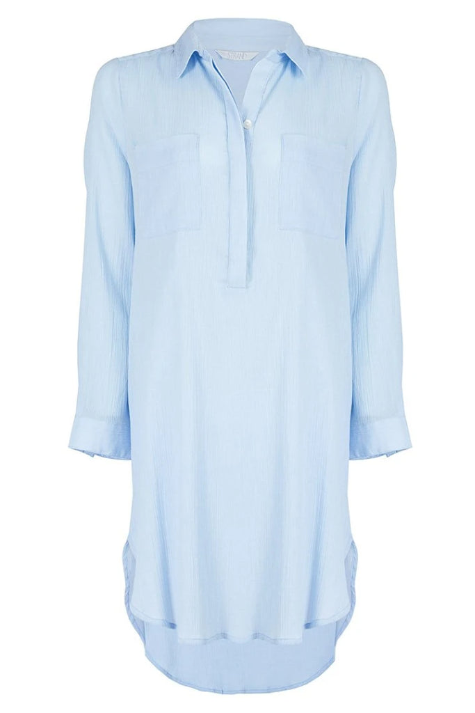 Sky Blue Popover Holiday essential lightweight popover shirtdress