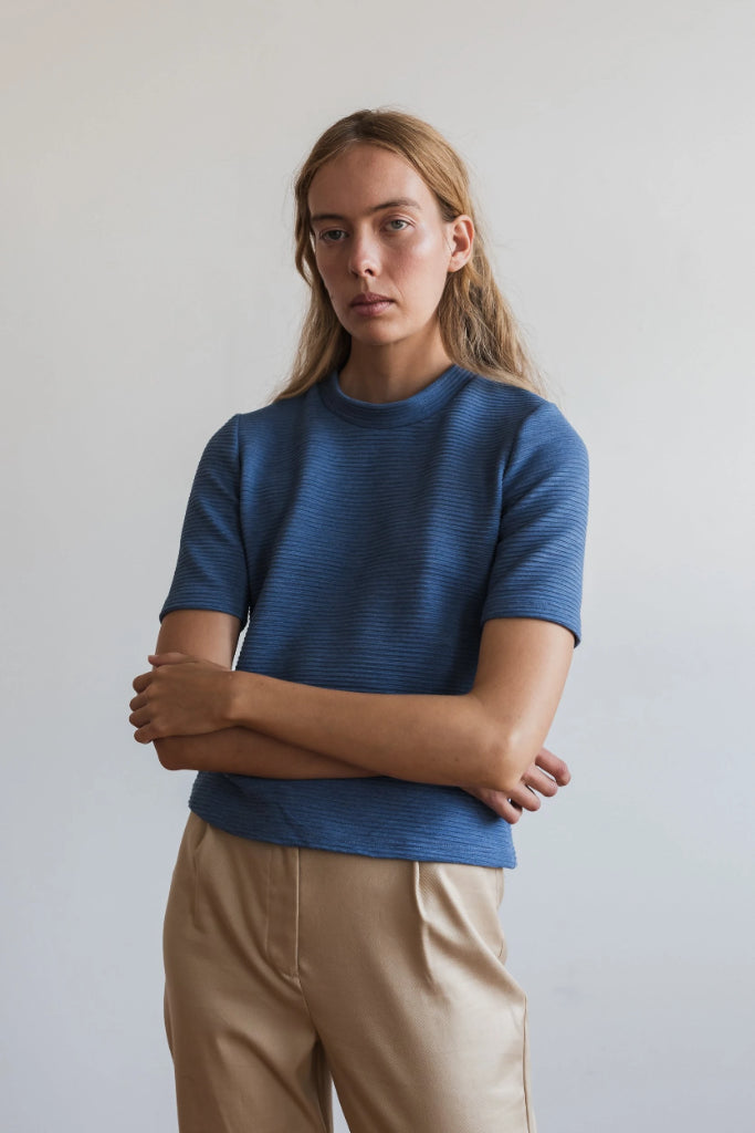 Kwan Short Sleeve Knit Sea Blue Shirts + tops Ethical Sustainable Vegan Organic Australian fashion womens clothes