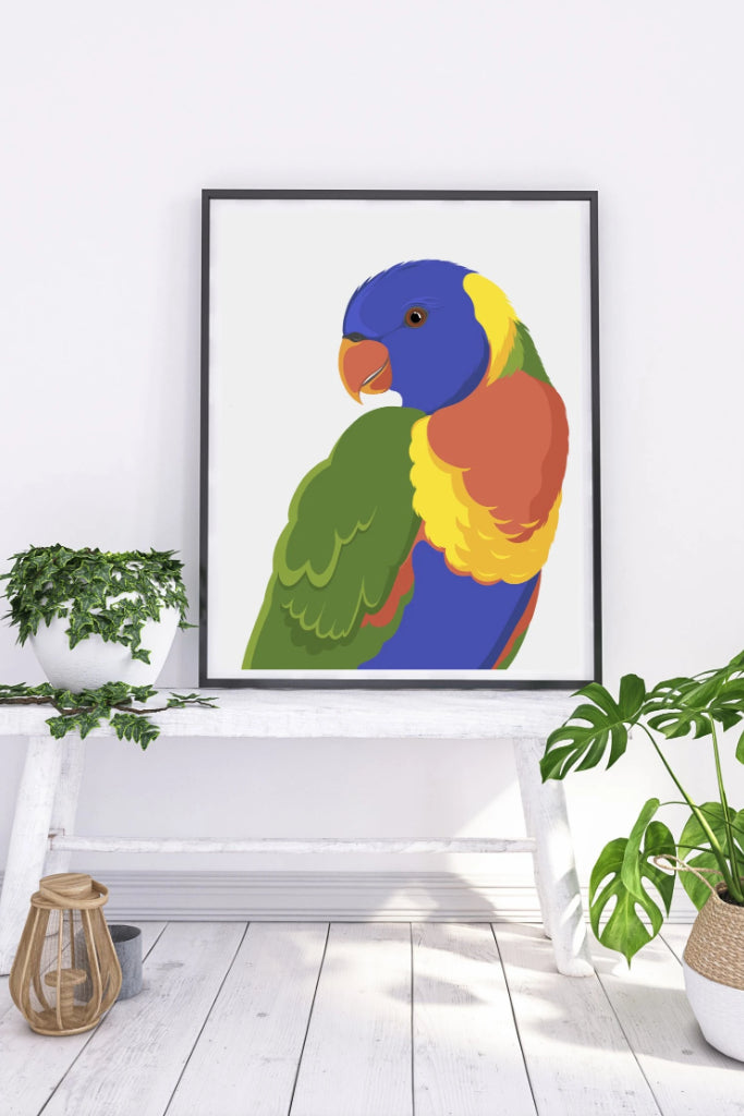 Rainbow Lorikeet Art + prints The Fashion Advocate ethical Australian fashion designer boutique Melbourne sustainable clothes