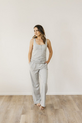 Roses Cove Grey Marle Organic Cotton Singlet Sleepwear Ethical Sustainable Vegan Organic Australian fashion womens clothes