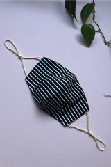 Tailored Fit 2-Layer Cotton Black and White Stripe Australian Made Adjustable Reusable Face Mask