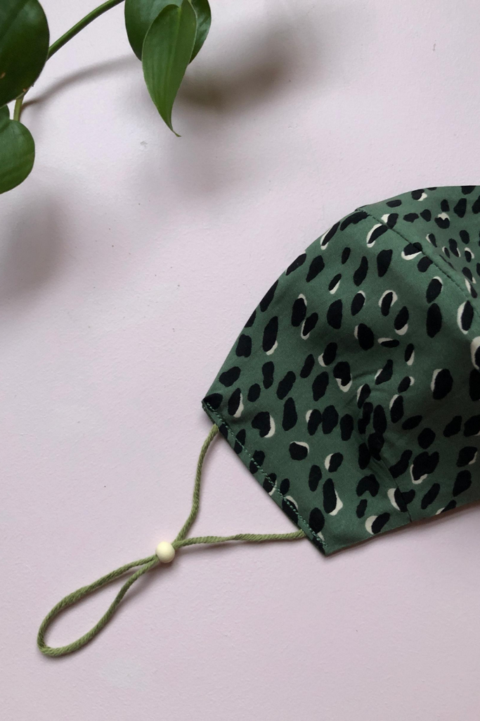 Tailored Fit 3-Layer Khaki Leopard Print Australian Made Adjustable Reusable Face Mask