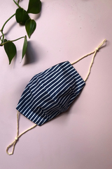 Tailored Fit 2-Layer Cotton Blue and White Stripes Australian Made Adjustable Reusable Face Mask