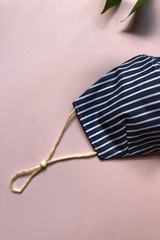 Tailored Fit 3-Layer Cotton Blue and White Stripes Australian Made Adjustable Reusable Face Mask