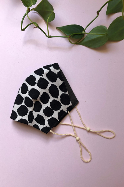 Tailored Fit 2-Layer Cotton Black and White Spots Australian Made Adjustable Reusable Face Mask