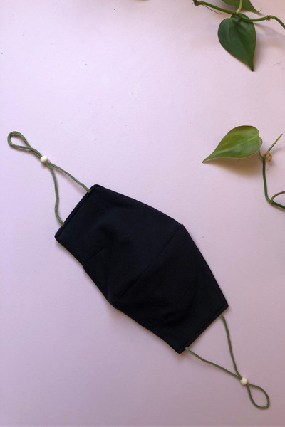 Tailored Fit 2-Layer Cotton Black Australian Made Adjustable Reusable Face Mask
