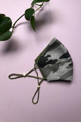 Tailored Fit 2-Layer Cotton Khaki Camo Print Australian Made Adjustable Reusable Face Mask