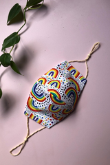 Tailored Fit 2-Layer Cotton Rainbow Print Australian Made Adjustable Reusable Face Mask