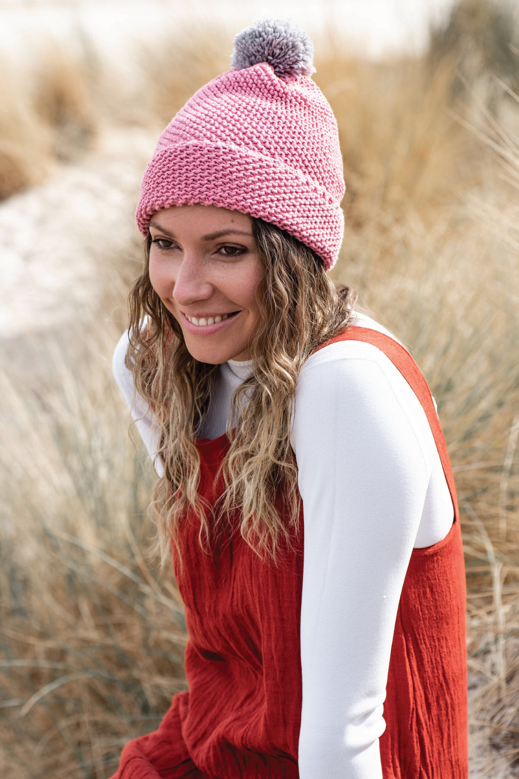 Candy Pink Pom Pom Beanie Beanies Ethical Sustainable Vegan Organic Australian fashion womens clothes