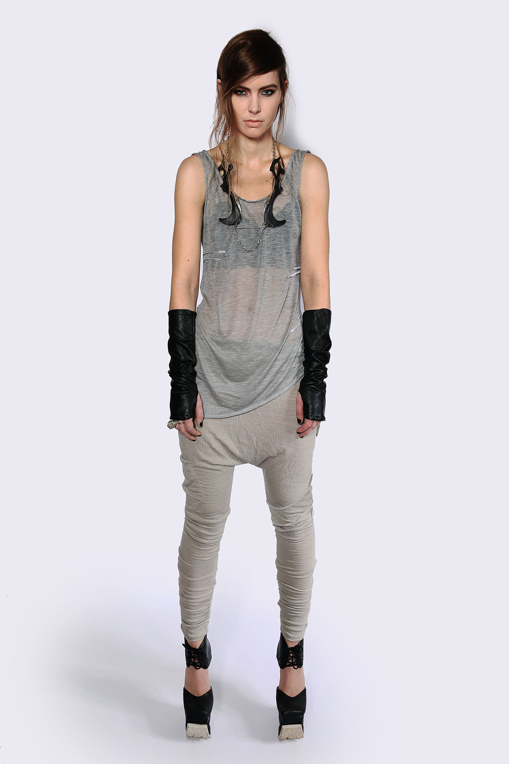 Weightless Grey A-Symmetrical Singlet Shirts + tops Ethical Sustainable Vegan Organic Australian fashion womens clothes