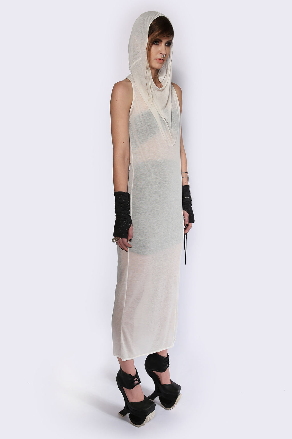 See-through Hooded Dress Dresses Ethical Sustainable Vegan Organic Australian fashion womens clothes