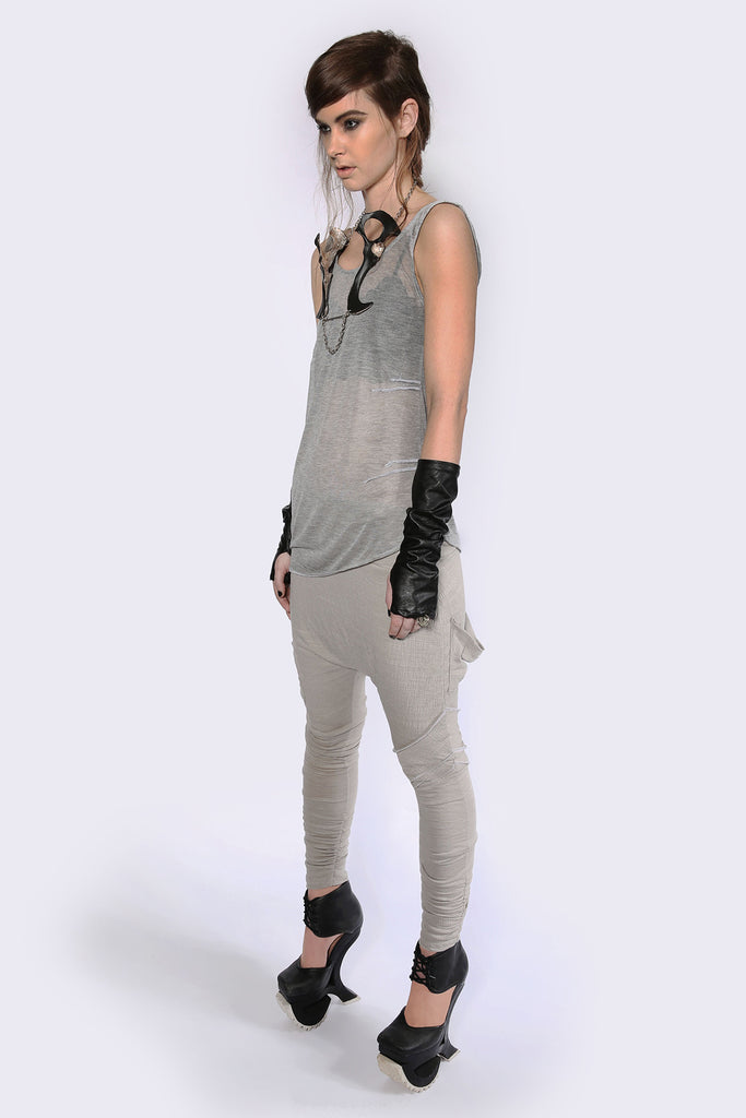 Weightless Grey A-Symmetrical Singlet Tops The Fashion Advocate ethical Australian fashion designer boutique Melbourne sustainable clothes