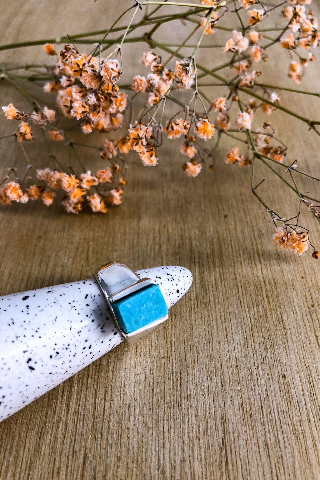 Adjustable Turquoise Block Ring Jewellery Ethical Sustainable Vegan Organic Australian fashion womens clothes