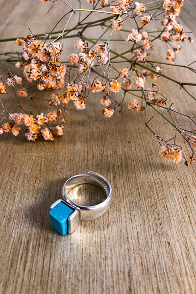 Adjustable Turquoise Block Ring