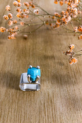 Square Turquoise Claw Ring Jewellery Ethical Sustainable Vegan Organic Australian fashion womens clothes