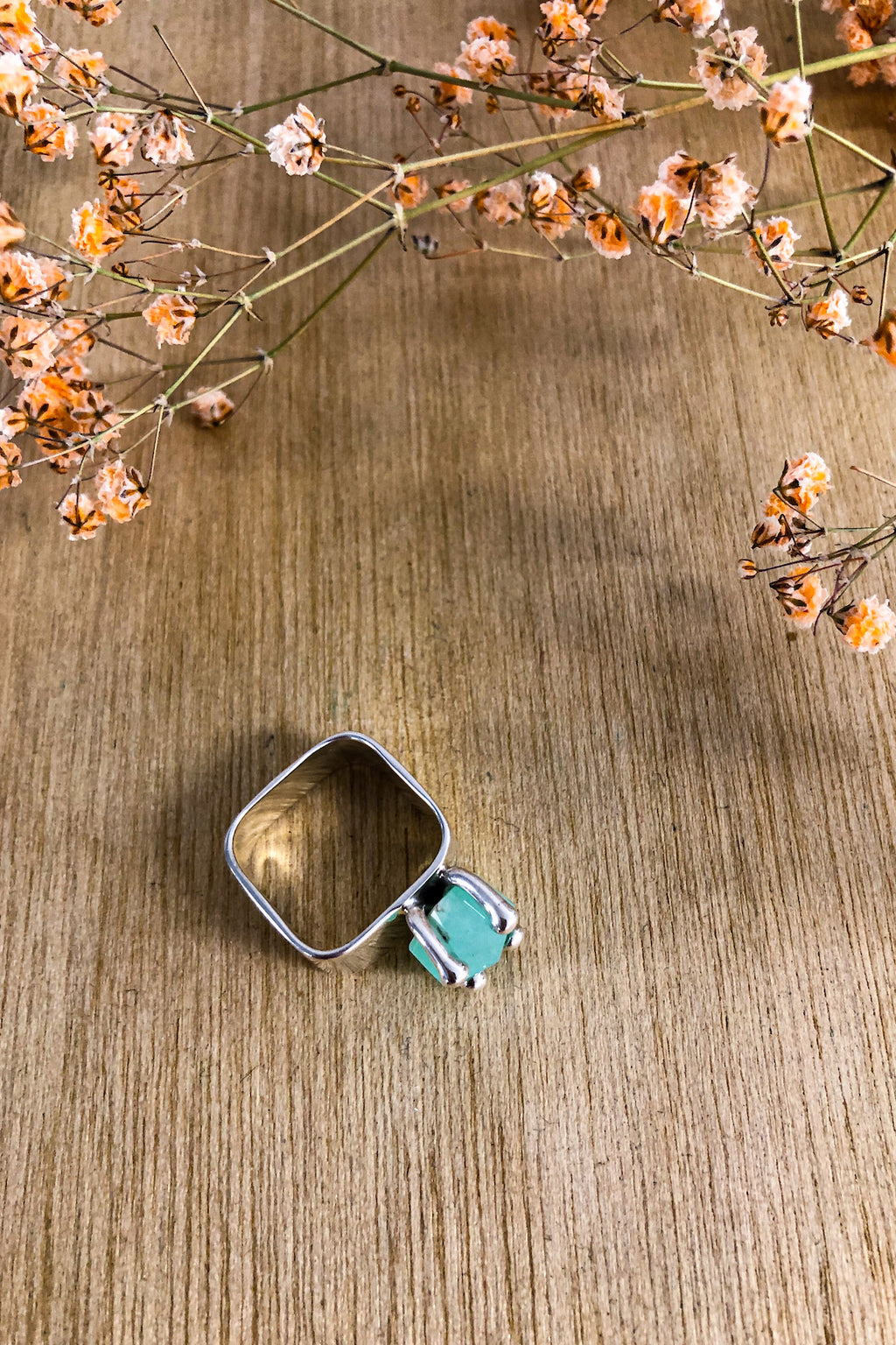 Square Chrysophrase Claw Ring Jewellery Ethical Sustainable Vegan Organic Australian fashion womens clothes