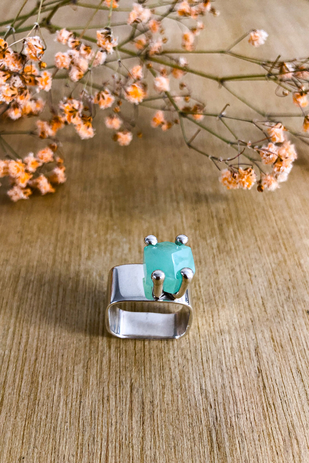 Square Chrysophrase Claw Ring Jewellery The Fashion Advocate ethical Australian fashion designer boutique Melbourne sustainable clothes