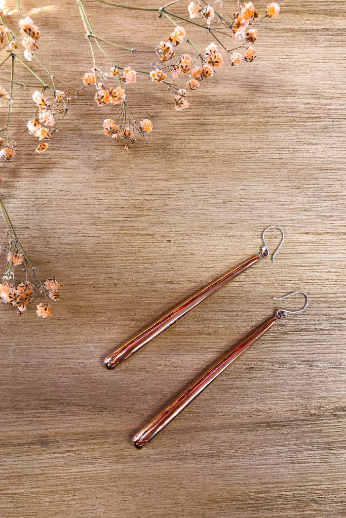 Long Tubular Brushed Copper Earrings Jewellery Ethical Sustainable Vegan Organic Australian fashion womens clothes