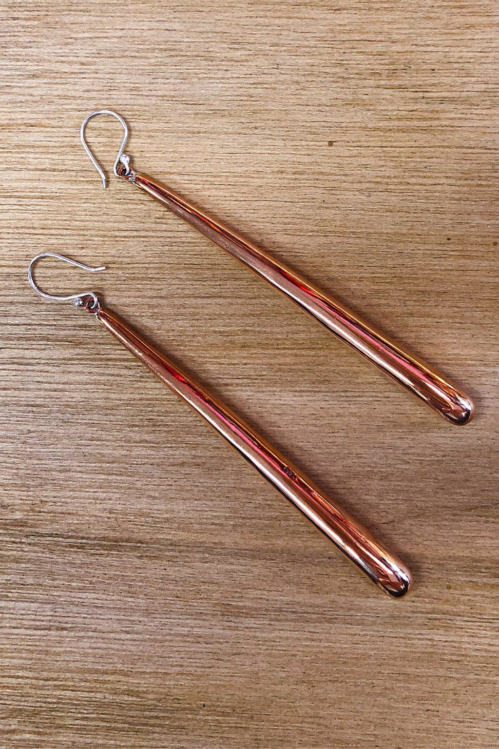 Long Tubular Brushed Copper Earrings Jewellery The Fashion Advocate ethical Australian fashion designer boutique Melbourne sustainable clothes