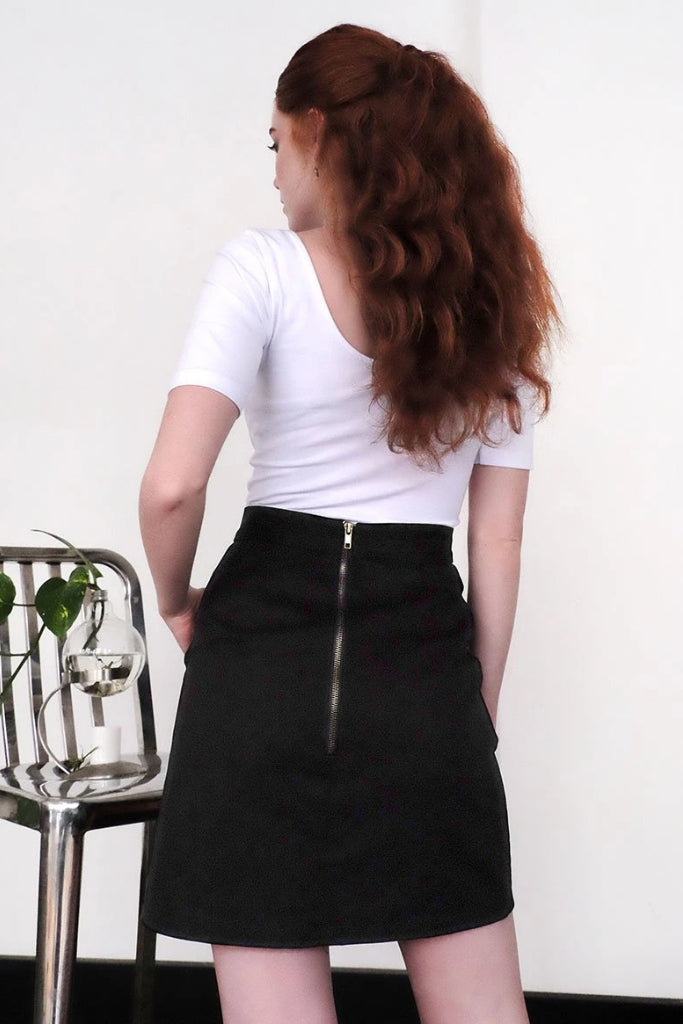 Zip Back Skirt Black Skirts Ethical Sustainable Vegan Organic Australian fashion womens clothes