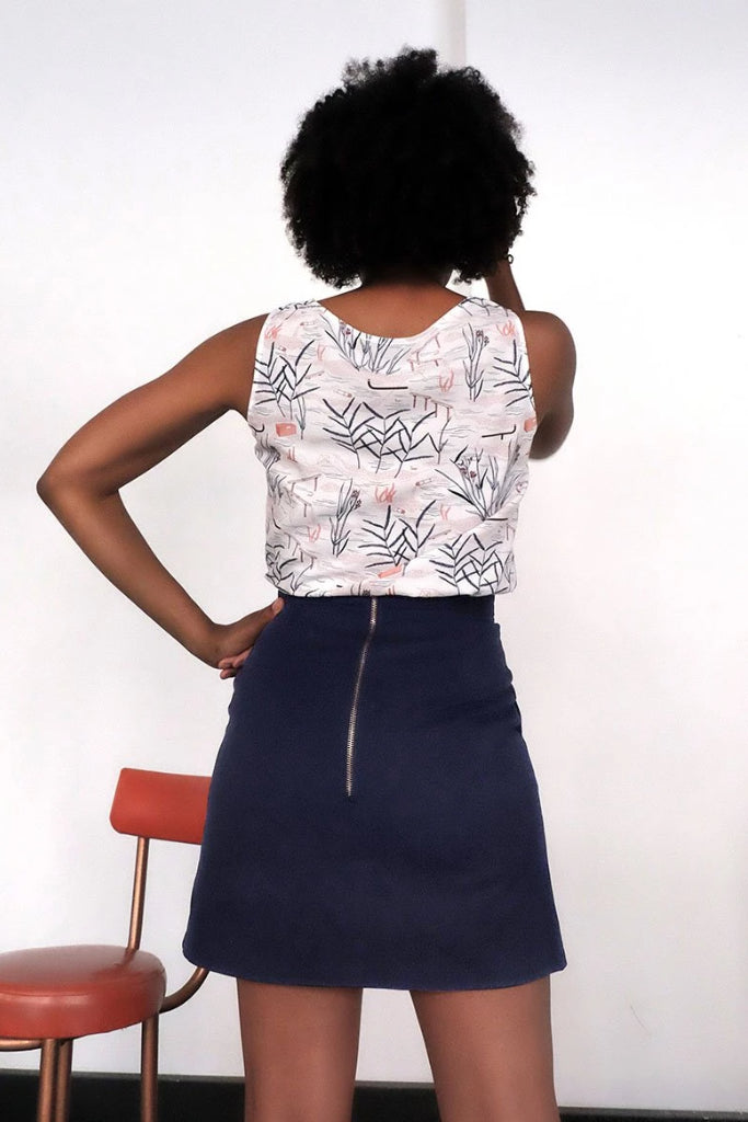 Zip Back Skirt Navy Skirts Ethical Sustainable Vegan Organic Australian fashion womens clothes