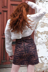 Hand Printed Zip Back Skirt Hot Wax Copper Skirts Ethical Sustainable Vegan Organic Australian fashion womens clothes