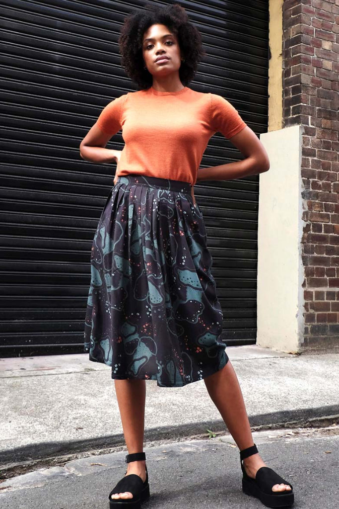 Midi Skirt Germs in Space Green Skirts Ethical Sustainable Vegan Organic Australian fashion womens clothes