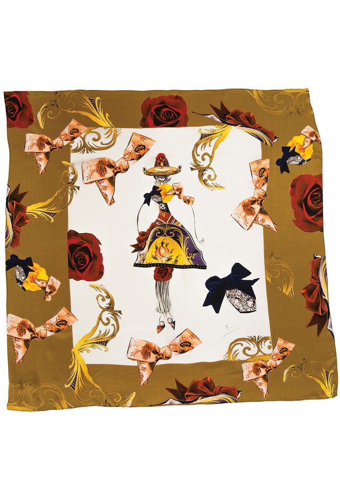 Golden Floriale Square Scarf Scarves The Fashion Advocate ethical Australian fashion designer boutique Melbourne sustainable clothes