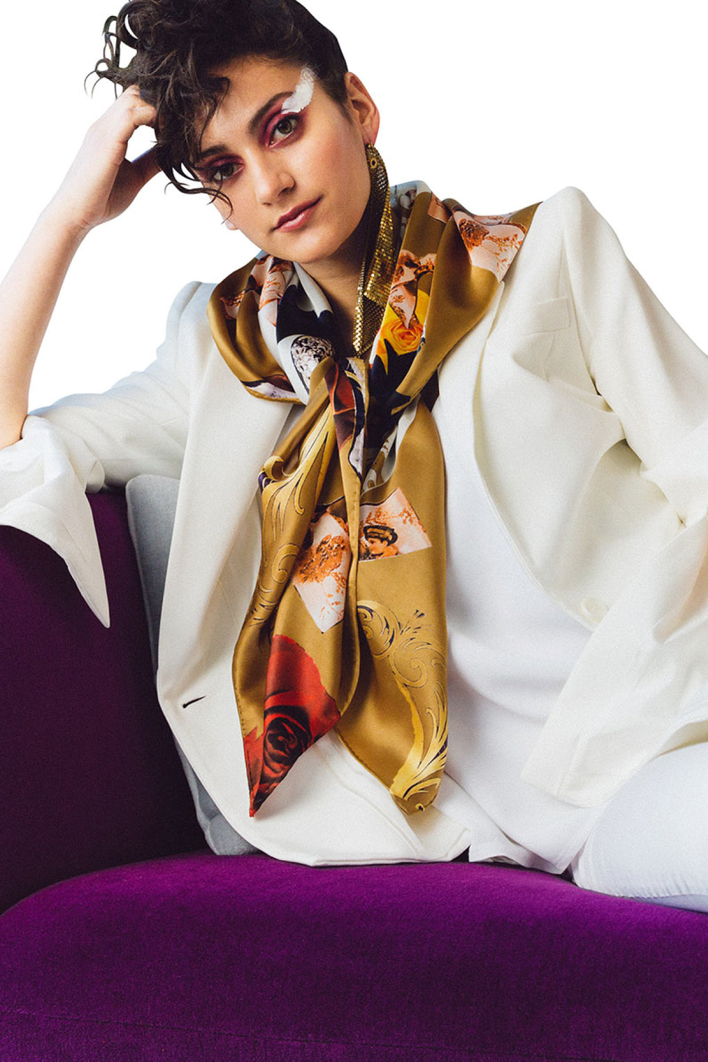 Golden Floriale Square Scarf Scarves Ethical Sustainable Vegan Organic Australian fashion womens clothes