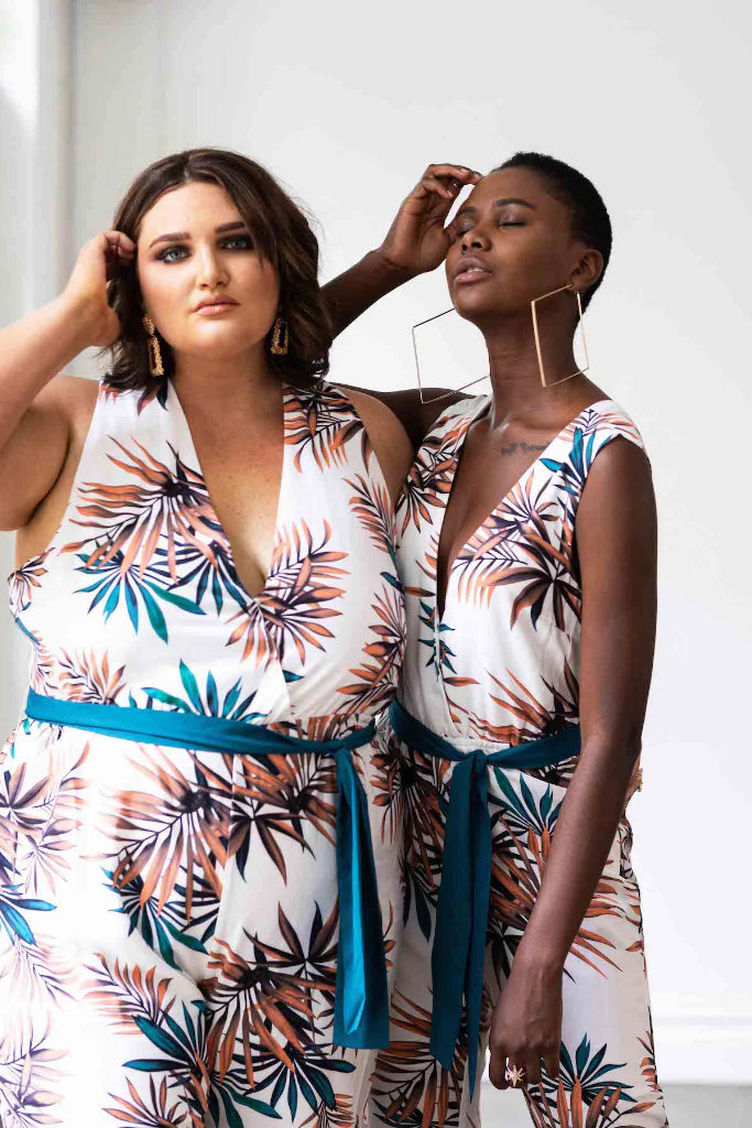 Miami Jumpsuit Palm Leaf Print Jumpsuits + playsuits Ethical Sustainable Vegan Organic Australian fashion womens clothes