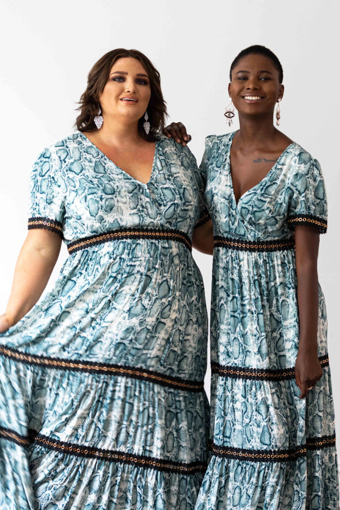 Venice Maxi Dress Teal Snakeprint with Black Lace Trim Dresses The Fashion Advocate ethical Australian fashion designer boutique Melbourne sustainable clothes