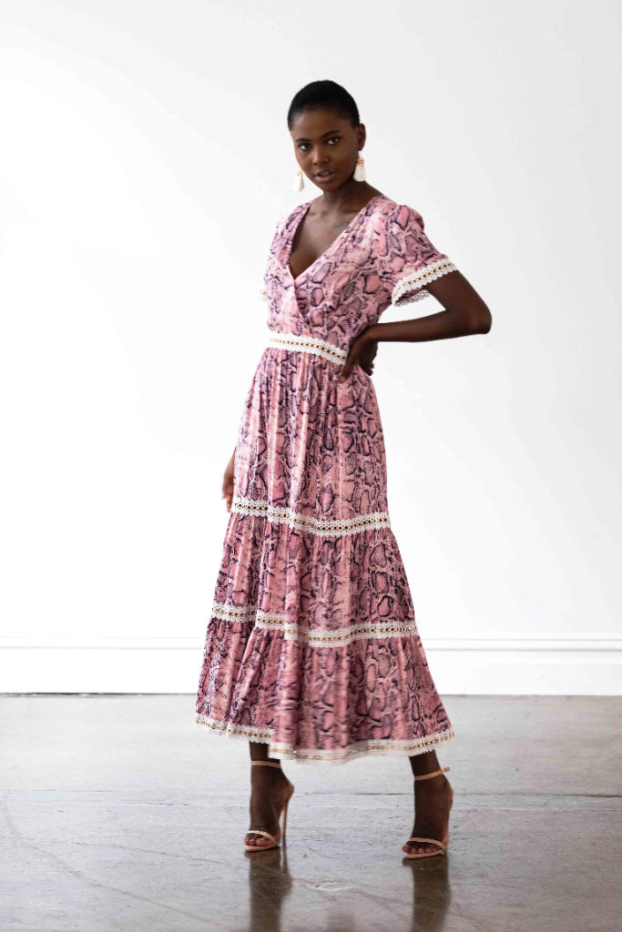 Venice Maxi Dress Pink Snakeprint With White Lace Trim Dresses The Fashion Advocate ethical Australian fashion designer boutique Melbourne sustainable clothes
