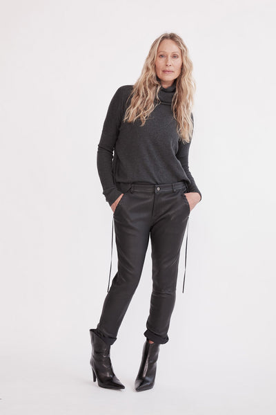 The Bondi Slouch Pant Black Stretch Leather Pants Ethical Sustainable Vegan Organic Australian fashion womens clothes