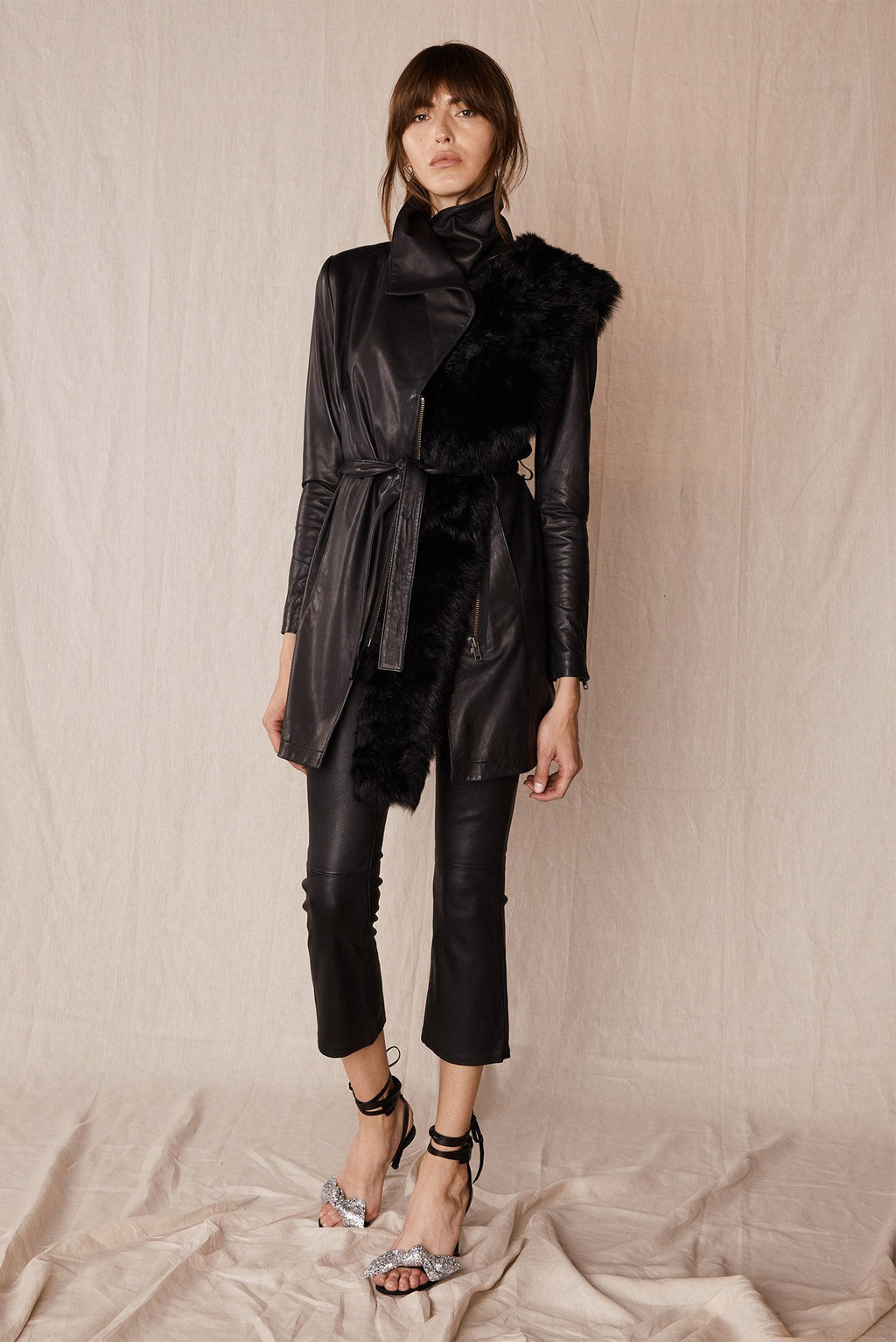 Washington Street Drape Trench Black Leather Jackets Ethical Sustainable Vegan Organic Australian fashion womens clothes