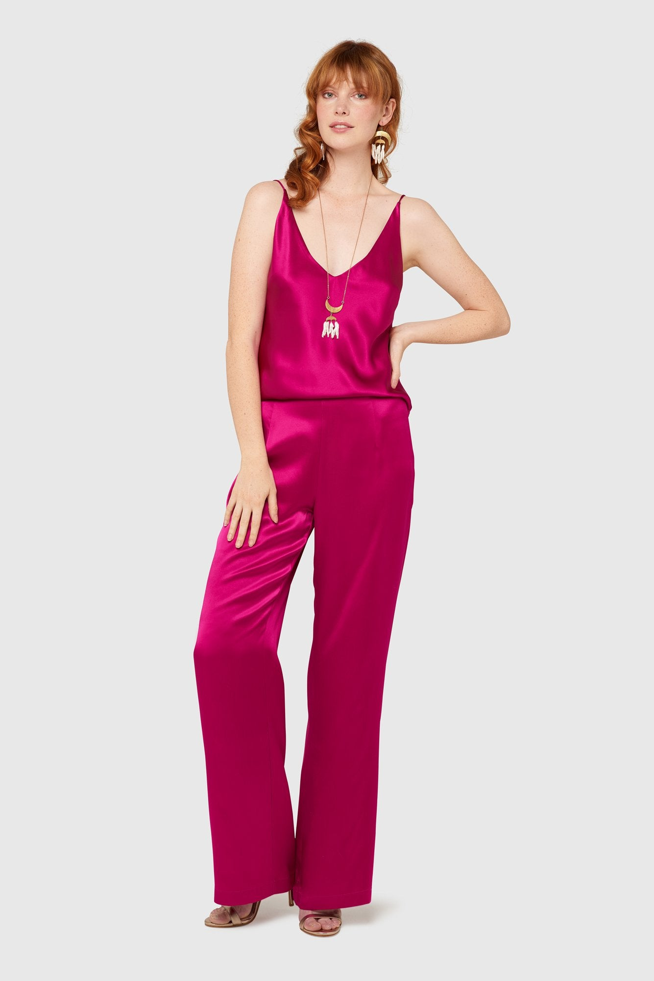 Cerise High Waisted Silk Lounge Pants Pants The Fashion Advocate ethical Australian fashion designer boutique Melbourne sustainable clothes