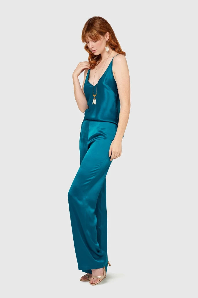 Peacock High Waisted Silk Lounge Pants Pants Ethical Sustainable Vegan Organic Australian fashion womens clothes