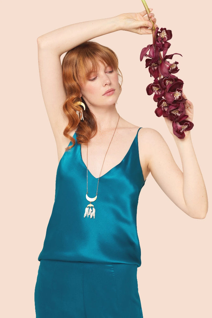 Peacock Silk Satin Camisole Shirts + tops Ethical Sustainable Vegan Organic Australian fashion womens clothes
