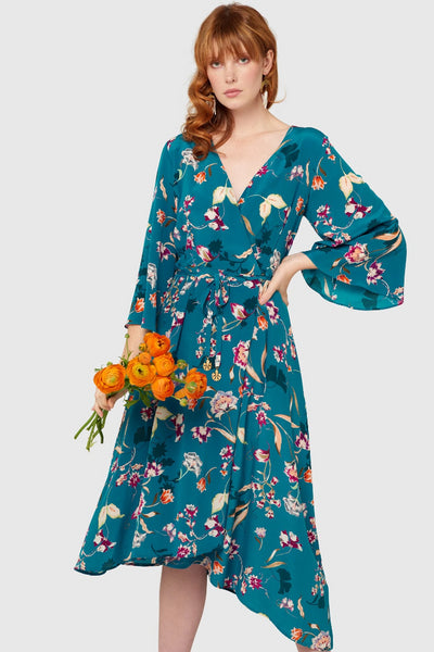 Peacock Bloom Kimono Wrap Dress Dresses Ethical Sustainable Vegan Organic Australian fashion womens clothes