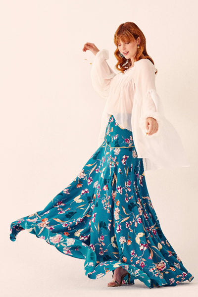 Peacock Bloom Maxi Skirt Skirts The Fashion Advocate ethical Australian fashion designer boutique Melbourne sustainable clothes