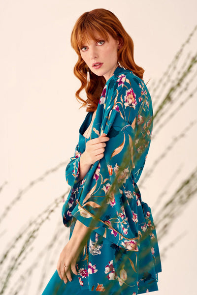 Peacock Bloom Kimono Inspired Jacket Kimonos Ethical Sustainable Vegan Organic Australian fashion womens clothes