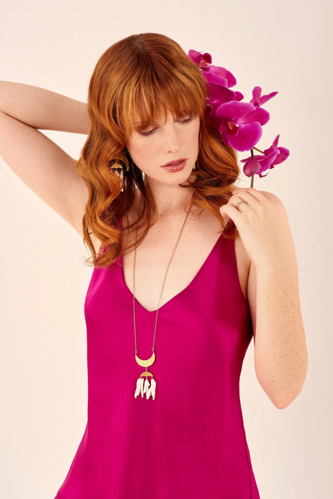 Cerise Silk Satin Camisole Shirts + tops The Fashion Advocate ethical Australian fashion designer boutique Melbourne sustainable clothes