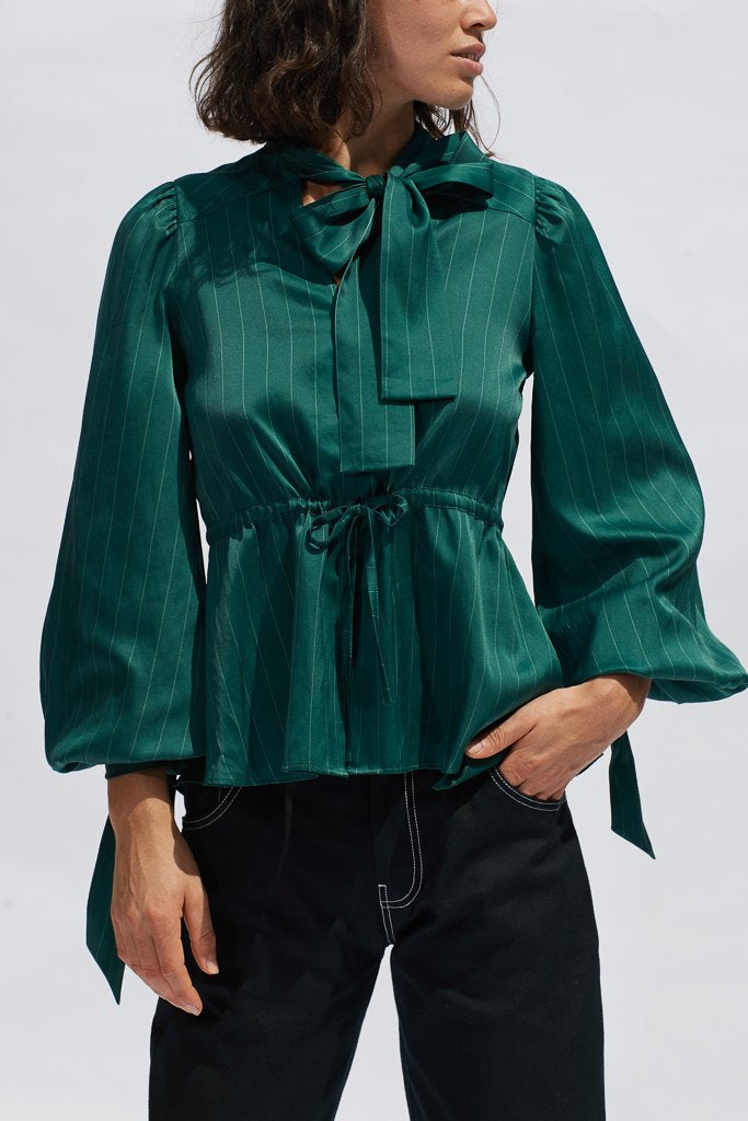 Teal Pinstripe Diana Silk Blouse Shirts + tops The Fashion Advocate ethical Australian fashion designer boutique Melbourne sustainable clothes