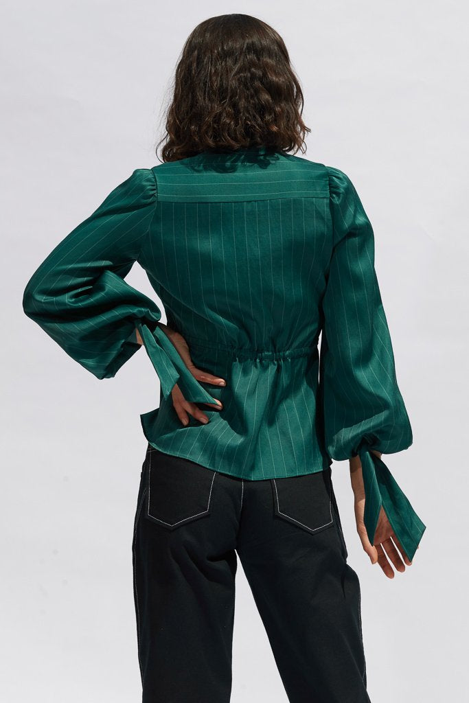 Teal Pinstripe Diana Silk Blouse Shirts + tops Ethical Sustainable Vegan Organic Australian fashion womens clothes