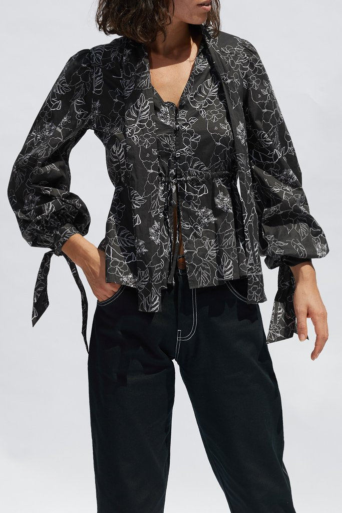 Black Sketch Floral Clementine Blouse Shirts + tops Ethical Sustainable Vegan Organic Australian fashion womens clothes