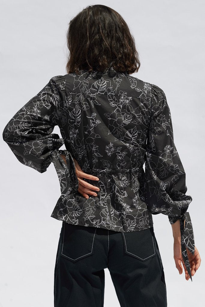 Black Sketch Floral Clementine Blouse Shirts + tops The Fashion Advocate ethical Australian fashion designer boutique Melbourne sustainable clothes