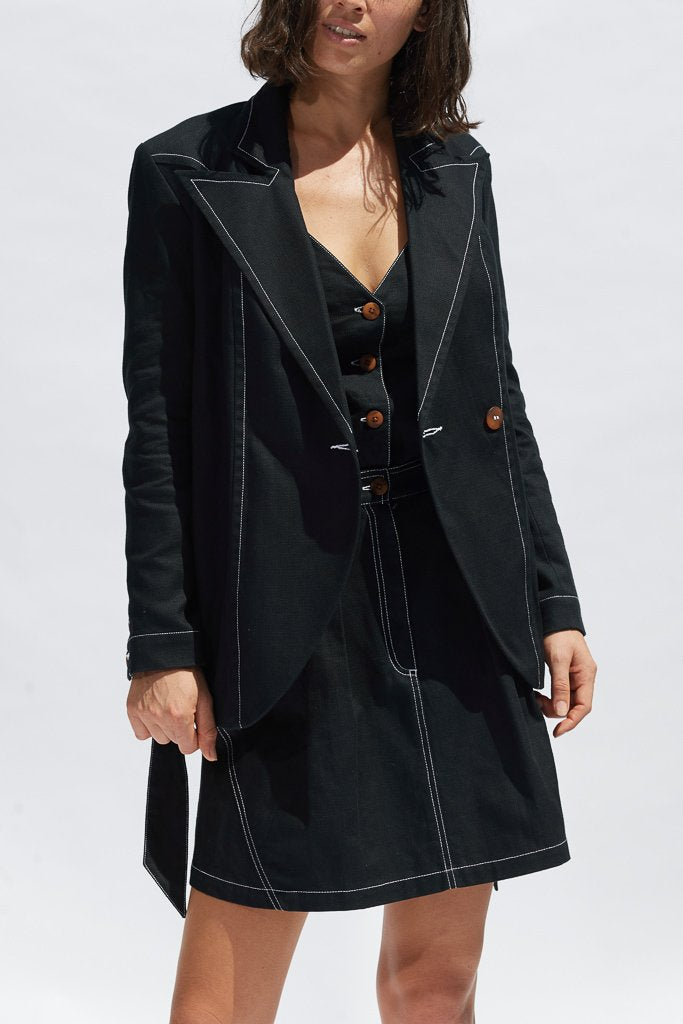 Black Kelly Blazer Jackets Ethical Sustainable Vegan Organic Australian fashion womens clothes