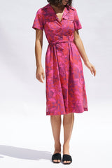 Fuchsia Floral Valeria Cotton Shirt Dress Dresses Ethical Sustainable Vegan Organic Australian fashion womens clothes