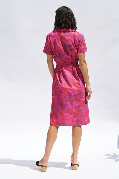 Fuchsia Floral Valeria Cotton Shirt Dress Dresses The Fashion Advocate ethical Australian fashion designer boutique Melbourne sustainable clothes